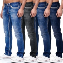Casual Style Middle Waist Slim Fit Men's Jeans