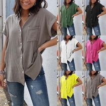 Casual Style Solid Color Button Front Short Sleeve Blouse