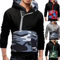 Fashion Camouflage Spliced Long Sleeve Man's Hoodie