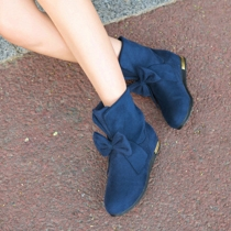 Sweet Bowknot Round Toe Inner-increased Booties