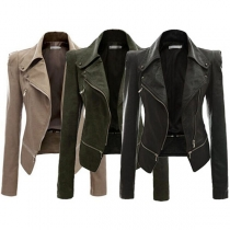 Fashion Solid Color Long Sleeve Lapel Slim Fit PU Leather Motorcycle Jacket