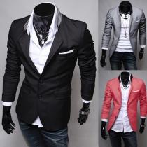 Fashion Solid Color Long Sleeve Slim Fit Men Blazer
