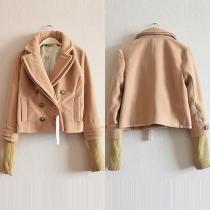 Fashion Long Sleeve Lapel Double-breasted Slim Fit Woolen Coat