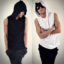 Fashion Solid Color Sleeveless Hooded Men's T-shirt