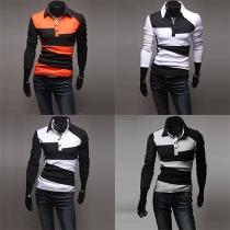 Fashion Long Sleeve Polo Collar Stripes Men T-Shirt