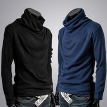 Fashion Solid Color Long Sleeve Cowl Neck Men's T-shirt