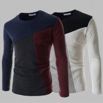 Fashion Contrast Color Long Sleeve Round Neck Men's T-shirt