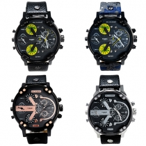 Fashion PU Leather Watch Band Round Dial Men's Watch