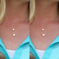 Fashion Double-layer Star Love Shaped Pendant Necklace