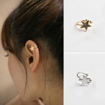 Simple Star Pentagram Shaped Ear Clip Earring