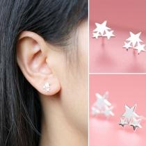 Fashion Elegant Star Pentagram Shaped Stud Earring