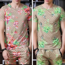 Fashion Casual Floral Printed Round Neck Long Sleeve Men's T-shirt