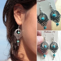 Retro Ethnic Style Turquoise Hollow Out Water-drop Earrings