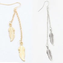 Fashion Gold/Silver-tone Leaf Tassel Earrings