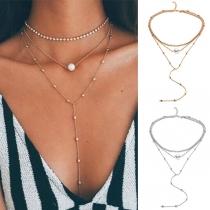 Fashion Rhinestone Inlaid Pearl Long Tassel Pendant Multilayer Necklace