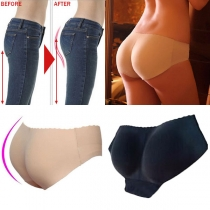 Sexy Solid Color Low-waist Breathable Padded Seamless Hip-up Panty