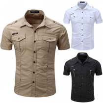 Fashion Solid Color Short Sleeve POLO Collar Single-breasted Men's Shirt