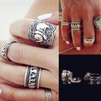 Retro Style Silver-tone Carving Alloy Ring Set 4 pcs/Set