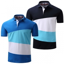 Fashion Contrast Color Short Sleeve POLO Collar Men's T-shirt