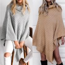 Chic Style Turtleneck Irregular Hem Solid Color Sweater Shawl