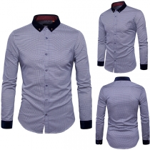 Fashion Contrast Color Long Sleeve POLO Collar Dots Printed Men's Shirt