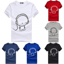 Cute Cartoon Printed Short Sleeve Round Neck Men's T-shirt