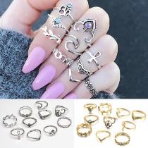 Fashion Rhinestone Inlaid Gold/Silver-tone Ring Set 10 pcs/Set