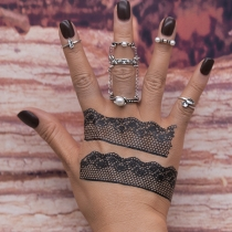 Retro Style Pearl Inlaid Alloy Ring Set 6 pcs/Set