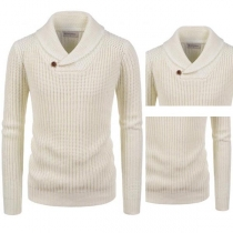 Fashion Solid Color Long Sleeve Lapel Men's Sweater