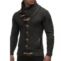 Retro Style Long Sleeve Single-breasted Solid Color Men's Sweater Coat