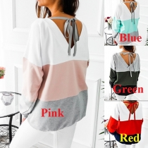 Fashion V-shaped Backless Long Sleeve Round Neck Contrast Color Sweatshirt
