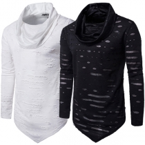 Hip-hop Style Long Sleeve Cowl Neck Irregular Hem Ripped T-shirt for Men