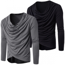 Casual Style Long Sleeve Cowl Neck Solid Color Men's T-shirt