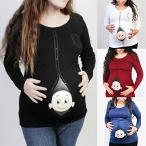 Cute Cartoon Printed Long Sleeve Round Neck T-shirt for Pregnant Women