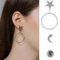 Fashion Hoop Pendant Star & Crescent Earring Set 3 pcs/Set