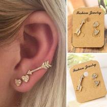 Fashion Rhinestone Inlaid Heart Arrow Shaped Stud Earrings