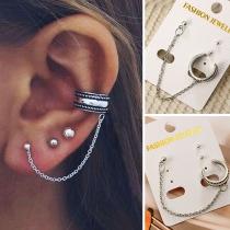Simple Style Tassel Alloy Earring Set