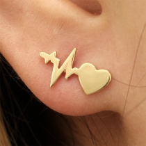 Simple Style Electrocardiogram Shaped Alloy Stud Earrings