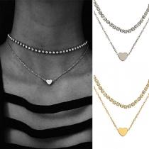 Fashion Heart Pendant Rhinestone Inlaid Choker Necklace