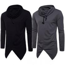 Hip-hop Style Long Sleeve Irregular Hem Solid Color Hooded Men's T-shirt