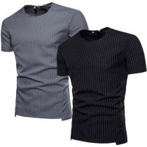 Fashion Short Sleeve Round Neck High-low Hem Men's Striped T-shirt
