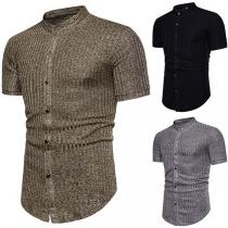 Fashion Short Sleeve Stand Collar Men's Striped Shirt