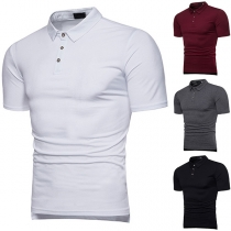 Fashion Solid Color Short Sleeve POLO Collar Men's T-shirt