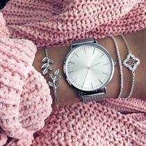 Cute Style Flower Leaf Silver-tone Alloy Bracelet Set 3 pcs/Set