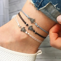 Fashion Longevity Turtle Pendant Braided Anklet