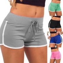 Fashion Contrast Color Drawstring Waist Sports Shorts