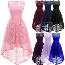 Elegant Solid Color Sleeveless Round Neck High-low Hem Lace Dress