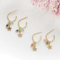 Fashion Contrast Color Bead Star Pendant C-shaped Stud Earrings