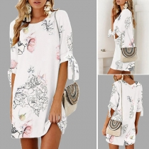 Fashion Half Sleeve Round Neck Loose Printed Dress