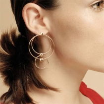 Simple Style Gold/Silver-tone O-shaped Earrings